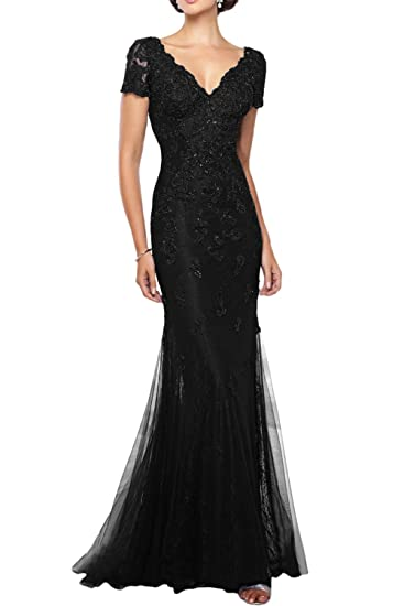 DressyMe Womens Evening Prom Dress Sleeves Double V-neck Lace-6-Black
