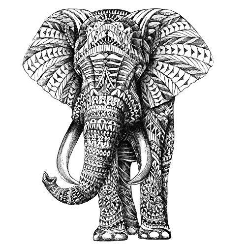 My Wonderful Walls Animal Art Ornate Elephant Wall Sticker Decal by BioWorkZ, Medium, Black/White/Green