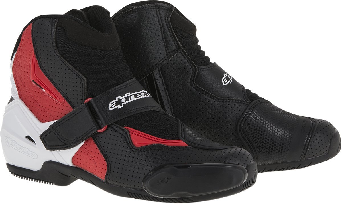 Alpinestars SMX-1R Vented Men's Street Motorcycle Shoes - Black/White/Red / 49 by Alpinestars