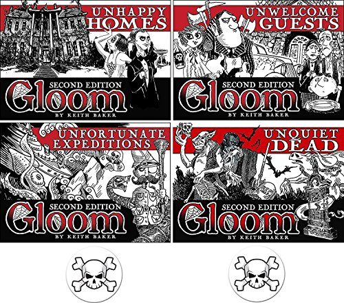 BUNDLE of 4 Expansions for the Gloom Card Game Unhappy Homes, Unwelcome Guests, Unfortunate Expeditions, and Unquiet Dead Second Edition Plus 2 Bonus Skull Buttons by Gloom