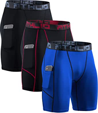 ATHLIO Men's (Pack of 3) Athletic Cool Dry Compression Shorts, Sports Performance Active Running Tights BSP