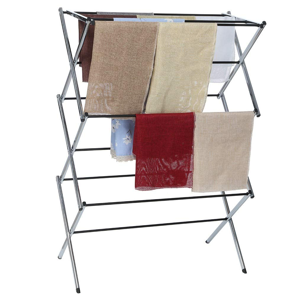 Drying Rack - Stainless Steel Drying Rack Retractable Drying Rack Hanging Clothes Foldable Drying Rack - Household Indoor Folding Clothes Drying Rack, Dry Laundry and Hang Clothes - Towel Rack by QIANSKY