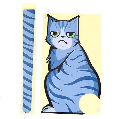 Ahomi Adhesivo para limpiaparabrisas de coche, diseño de gato azul con una cola de envolver