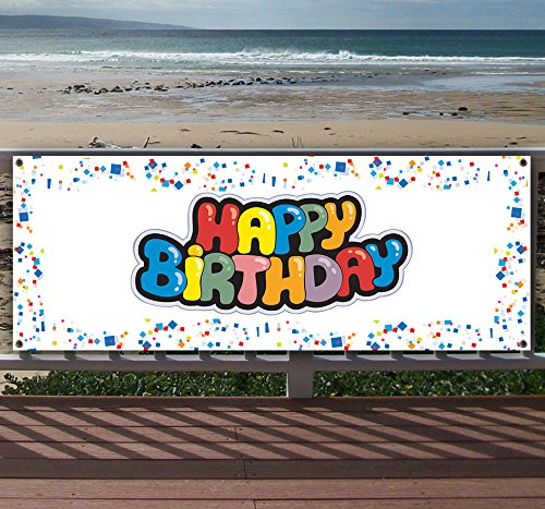 Happy Birthday 13 oz Heavy Duty Vinyl Banner Sign with Metal Grommets, New, Store, Advertising, Flag, (Many Sizes Available) (13 Vinyl Ounce)