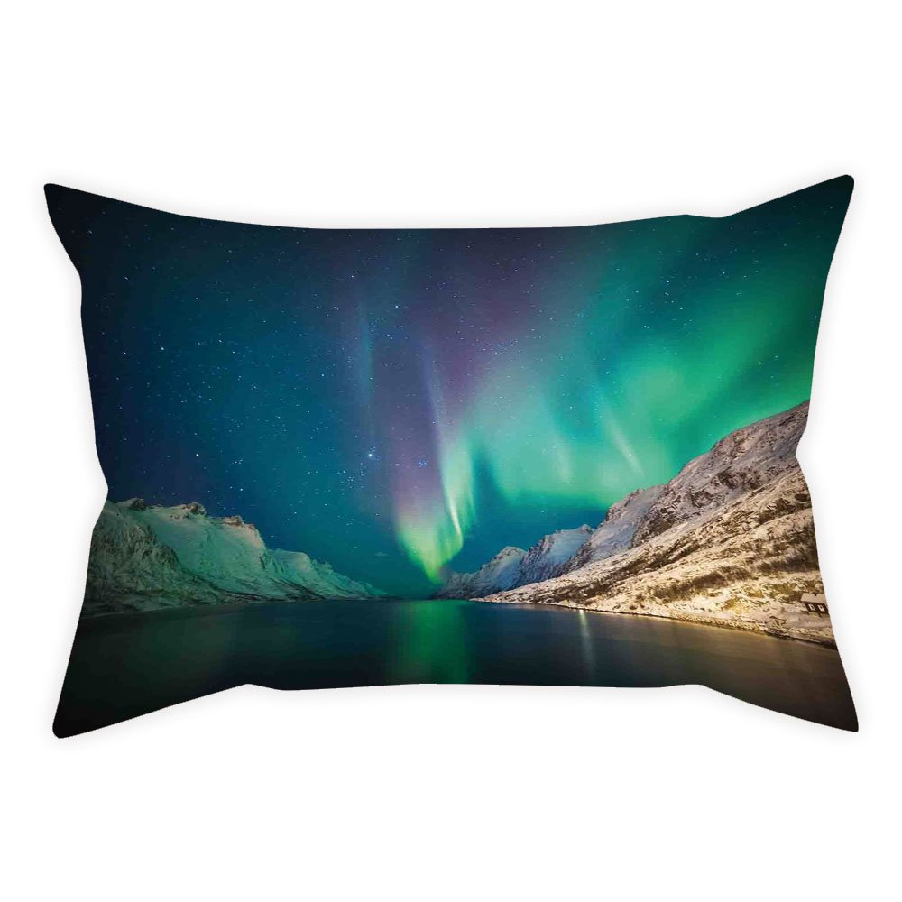 iPrint Satin Throw Pillow Cushion Cover,Nature Decor,Mystical Northern Lights above Rocky Hills Magnetic Poles Solar Space Panorama,Jade Green,Decorative Square Accent Pillow Case