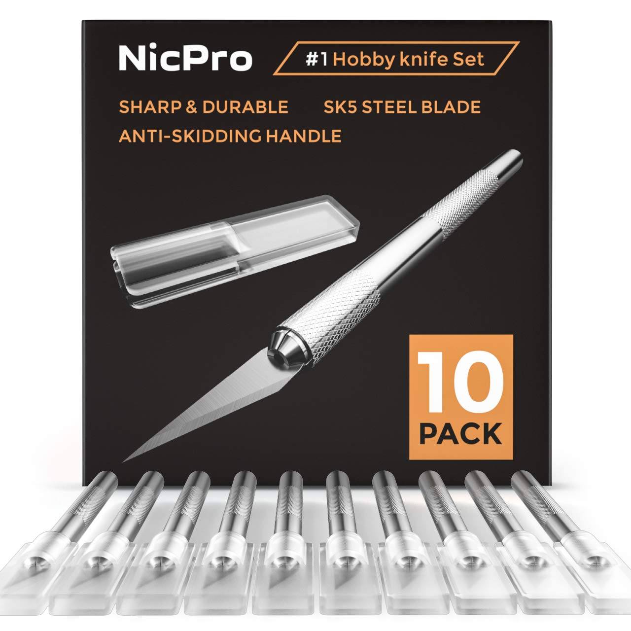 Nicpro 10 PCS #1 Precision Cutter Hobby Knife Set, Exacto Refill Craft Art Knife Kit Cutter for Art, Hobby, Scrapbooking,Stencil