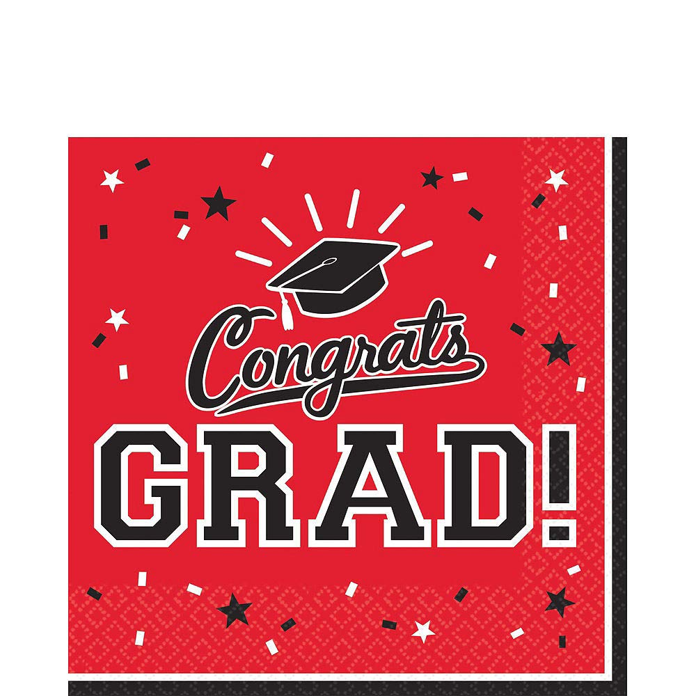 Party City Red Congrats Grad 2019 Graduation Party Supplies for 36 Guests with Banner, Tableware and Balloons by Party City (Image #5)