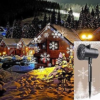 d8ad6fc6400 QIANGUANG Luz de escenario LED Estrella llena de copos de nieve Luz del  proyector de navidad para exteriores Navidad Boda Paisaje Césped británico  ...