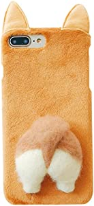 UnnFiko Soft Fur Case for Phone 6s Plus, Cartoon Funny Cute Puppy Plush Animal Cat Butt Corgi Tail Brown Ear Hair Creative 6 Plus Phone Case for Girls Women (Brown Corgi, iPhone 6 Plus / 6s Plus)