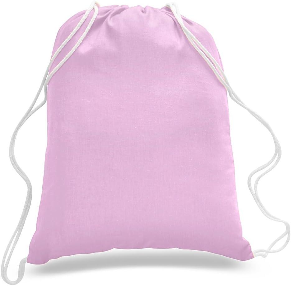 (12 Pack) 1 Dozen - Durable Cotton Drawstring Tote Bags (Light Pink)