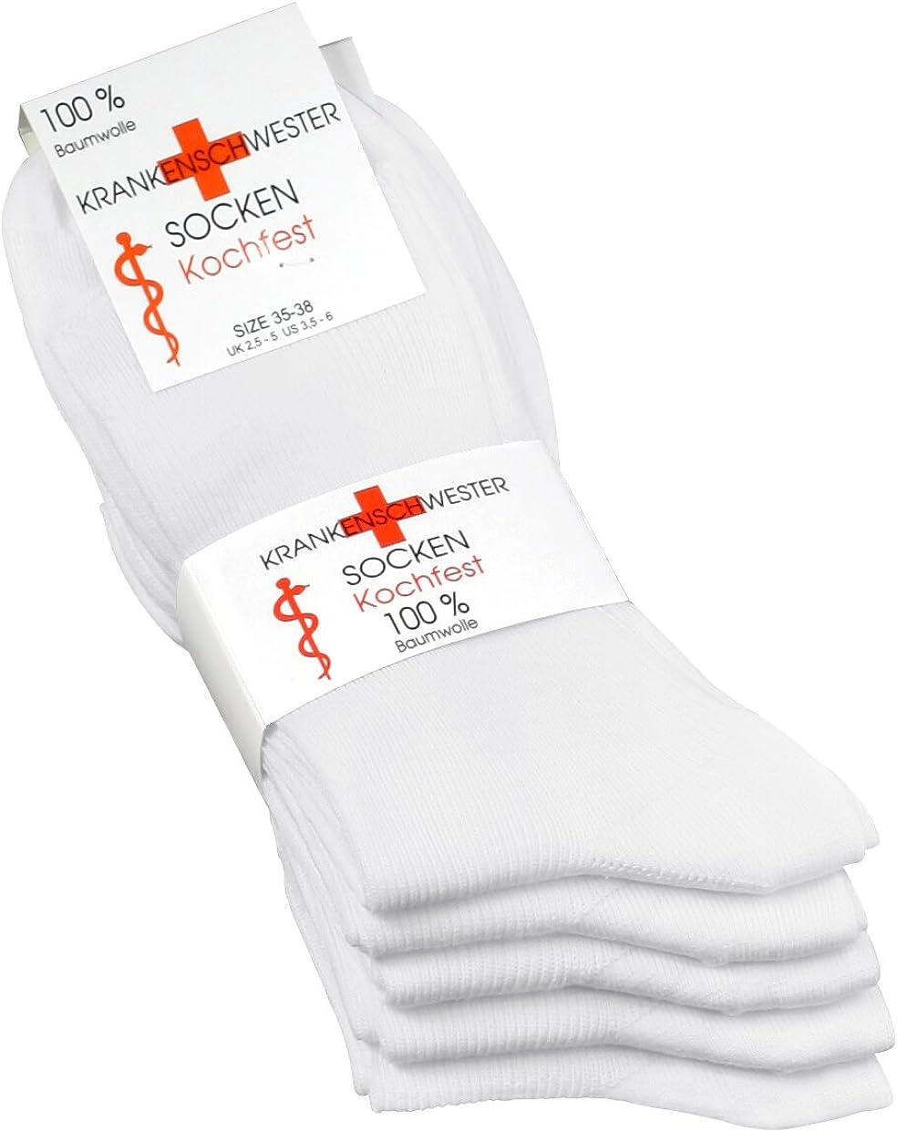 bianco Vincent Creation 10 paia di calzini infermiera per donna in puro cotone