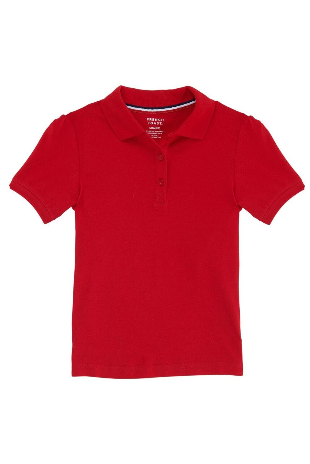 French Toast Little Girls' Short Sleeve Stretch Pique Polo, Red, 4