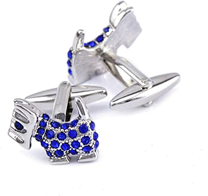 Aienid Gemelos para Camisa Hombre Plata Azul Perro Circonita Gemelos para Camisa para Hombre: Amazon.es: Joyería