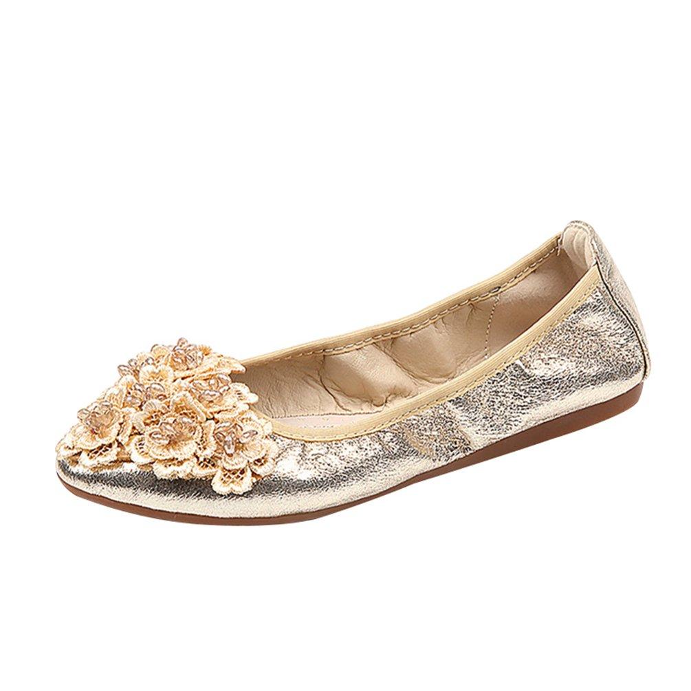 Jitong Femmes Slip-on Floral Femmes Mocassins Doux Bout Pointu Loafers Plates Loafers Doux Chaussures Bateau de Conduite Or c6ceeb9 - deadsea.space