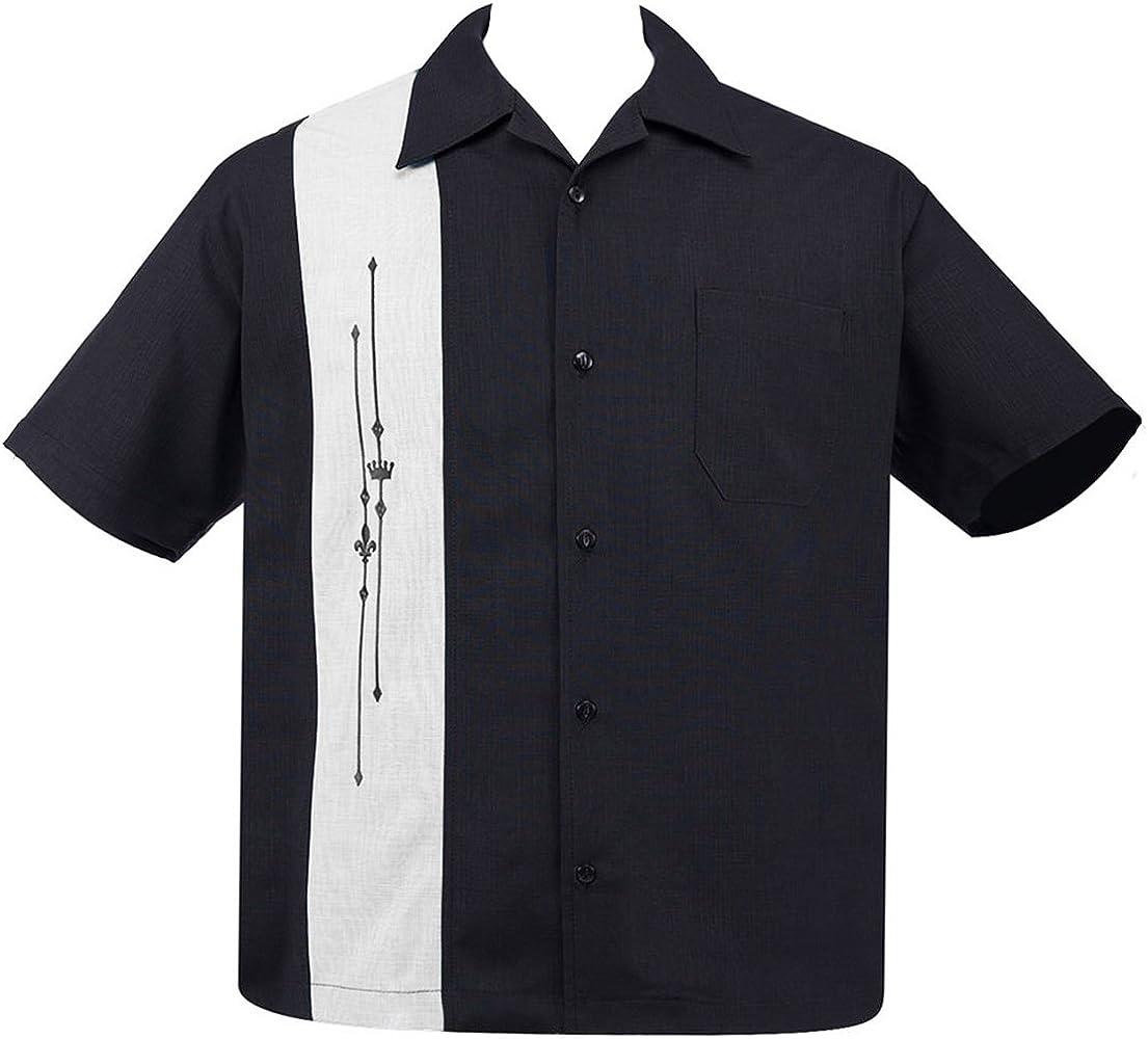 Steady Clothing - Camisa de bolera para hombre, diseño clásico Negro M: Amazon.es: Ropa y accesorios
