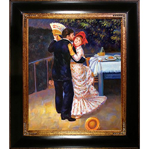 overstockArt Renoir Dance in the Country with Opulent Frame Oil Painting, Dark Stained Wood with Gold Trim by overstockArt