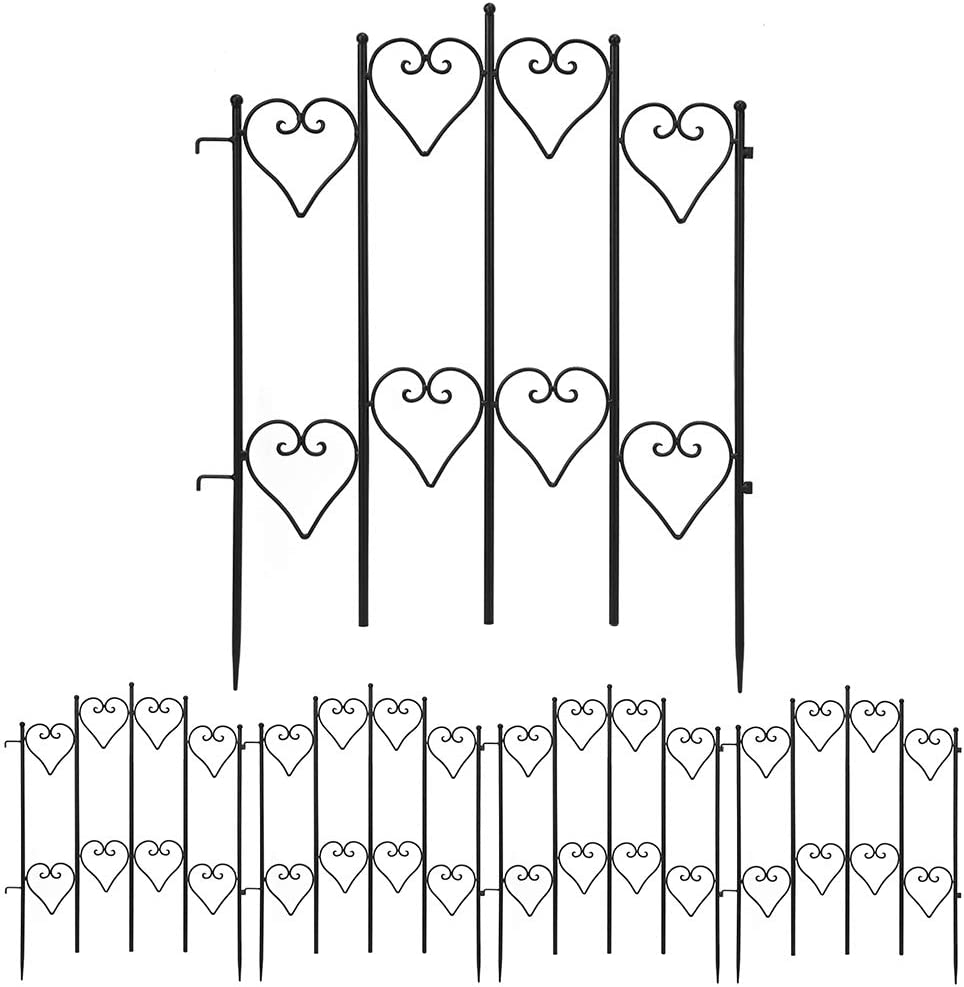 Amagabeli Decorative Garden Fence 27inx9ft Outdoor Coated Rustproof Metal Garden Fencing Panel Animal Barrier Iron Folding Edge Wire Border Fence Ornamental for Patio Landscape Flower Bed FC05