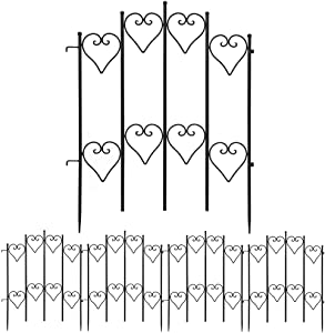 Amagabeli Decorative Garden Fence 27inx9ft Outdoor Coated Rustproof Metal Garden Fencing Panel Animal Barrier Iron Folding Edge Wire Border Fence Ornamental for Patio Landscape Flower Bed FC05