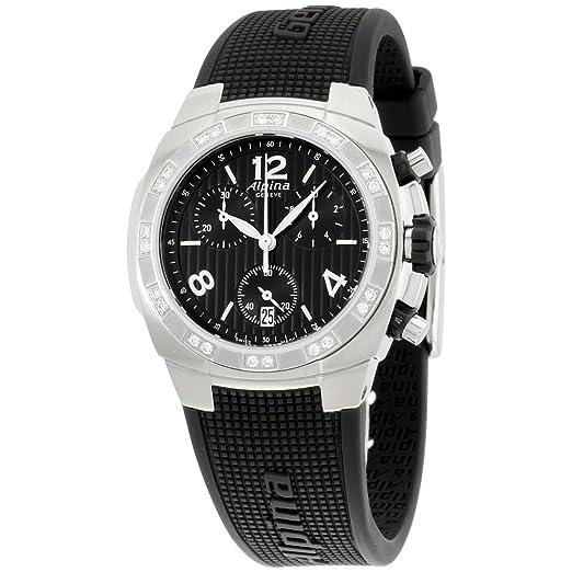 Alpina Avalancha negro correa de silicona Dial diamante damas reloj al350lbbb2ad6: Amazon.es: Relojes