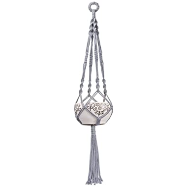 Mkono Colorful Macrame Plant Hanger Indoor Outdoor Hanging Planter Basket Cotton Rope 4 Legs 40 Inch-Gray