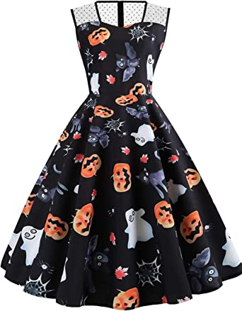 Halloween Dresses for Women Vintage A-line Sleeveless Casual Cocktail Party Swing Dress Printed Pumpkin Bat Cat Dress