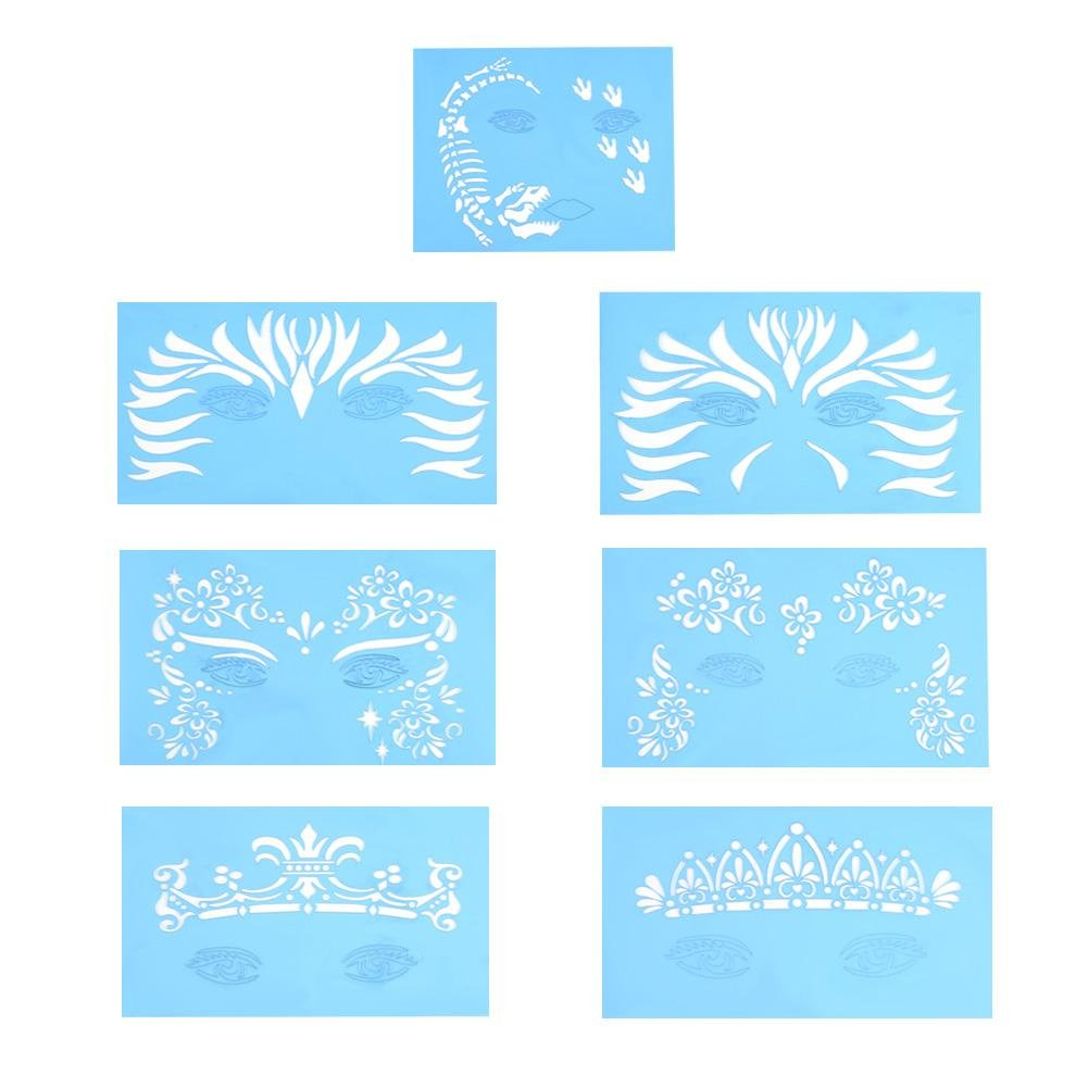 Face Paint Stencils for Kids and Adults, 7pcs/set Reusable Tattoo Stencils glitter Temporary Tattoos Templates Face Paint Stencil Body Painting Template Facial Makeup Tattoo Design Tools