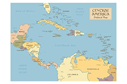 Amazon.com: Central America Vintage Style Political Map Poster 18x12 ...