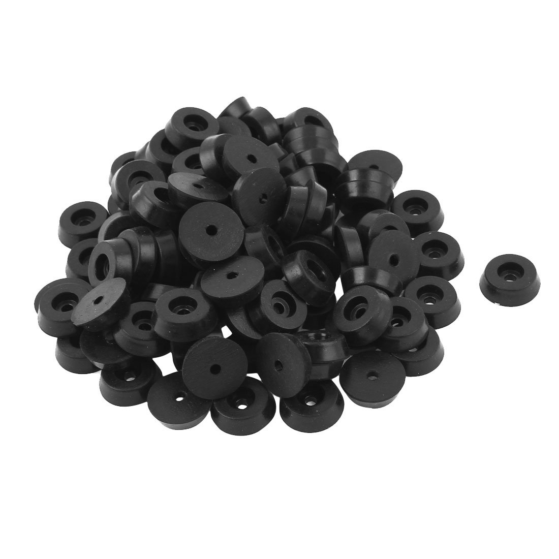 100 Pcs 5mmx18mm Conical Rubber Furniture Bumper Foot Cover Pad Black uxcell a15110200ux0318