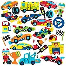 Baker Ross- Pegatinas de espuma con forma de coches de carreras (Pack de 120) - Pegatinas de espuma con temática de coches de carreras en divertidas formas para pegar en álbumes de recortes