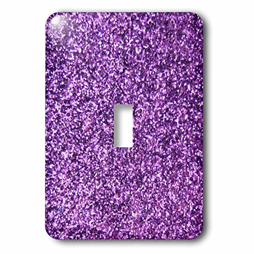 3dRose lsp_112889_1  Purple Faux Glitter Photo of Glittery Texture Fashionable Girly Trendy Glam Sparkly Bling Effect Single Toggle Switch