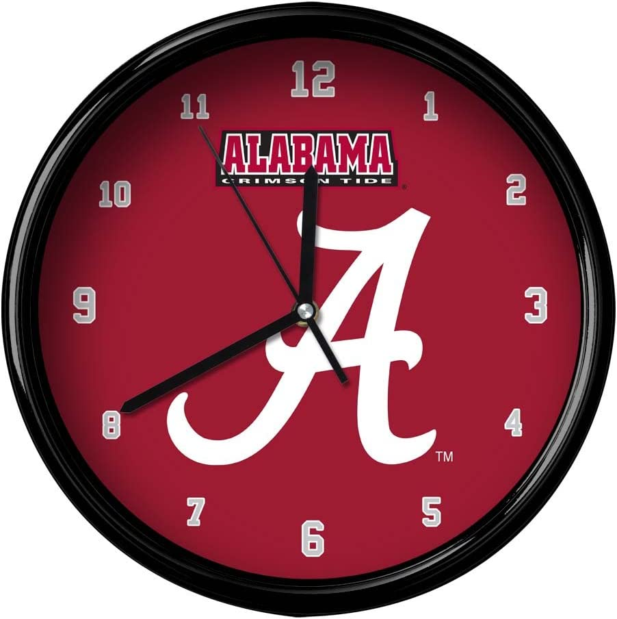 One Size NCAA The University of Alabama Official Black Rim Basic Clock Multicolor