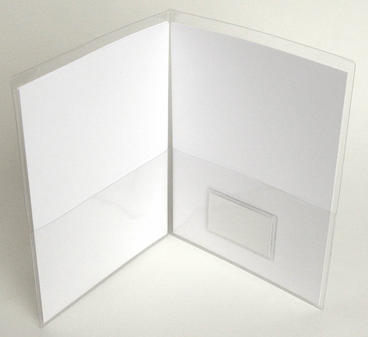 StoreSMART - Clear Plastic Folder with 2 pockets - with Business Card Holder on inside - 100-Pack - 9.5'' x 11.75'' - R935N-100