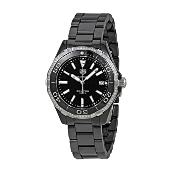 f1d2d432116 Image Unavailable. Image not available for. Color  Tag Heuer Aquaracer Lady  300M 35mm Black Diamond Ceramic Watch ...