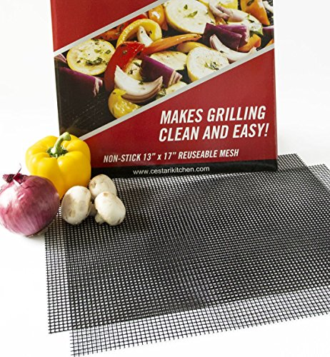 BBQ Mat Replaces Vegetable Grill Basket | PFOA Free Grill Mesh Tray for Grilled Vegetables Fish Fajitas Shrimp | Grill Set of 2 Extra Large Nonstick Grill Mats |13 x 17 inches