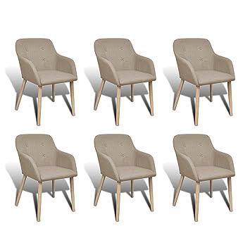 Vidaxl Eiche 6x Essstuhl Beige Stuhlgruppe Esszimmerstuhl Armlehne Stuhl