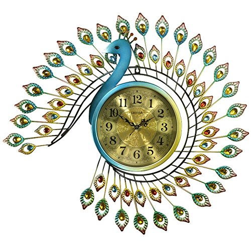 Decorative Wall Clock/Living Room Of Peacocks Birds Wall Clock/Creative Personality Clock/European-american Iron Wall Charts-C 20inch by Wall clock home