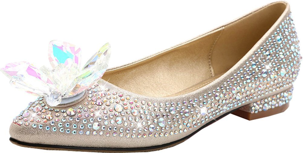Abby Womens Fashion Shallow Mouth Wedding Party Bridal Evening Dress Rhinestone Pointed Toe Slip On Flats Pump Champagne US Size8