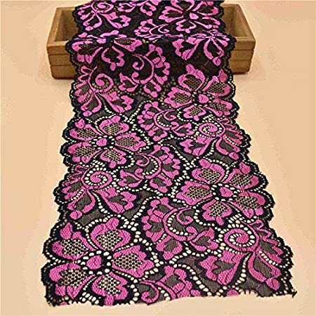 Cinta elástica de encaje de 18 cm de ancho de algodón con ribete de encaje blanco bordado de encaje nigeriano africano As Shown in the Picture Rosa negra.: Amazon.es: Hogar