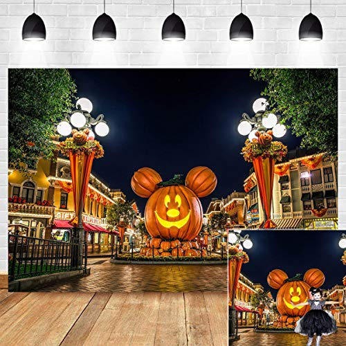 Halloween Decoration Photography Backdrop Cartoon Mouse Head Pumpkin Jack O' Lantern Night Street Scenery Photo Background Vinyl 7x5ft Photo Booth Studio Props Travel Birthday Party ()