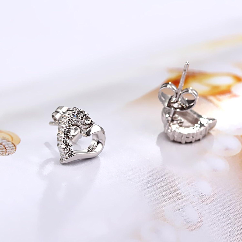 Amazon Platinum Plated Half Crystal Hollow Heart Stud Earring