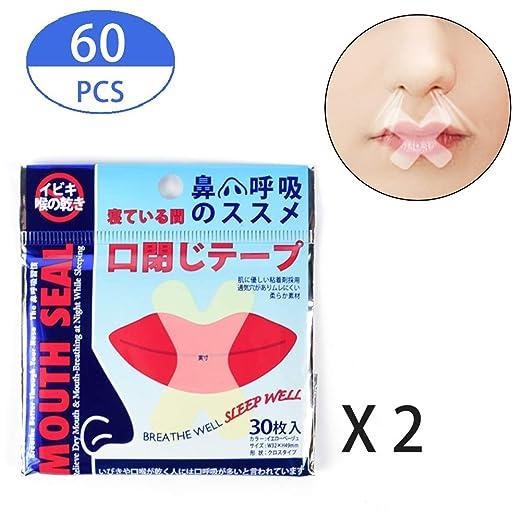 Ansblue Sleep Strips 60 pcs. Cinta adhesiva para la boca para una mejor respiración de la nariz. Cintas anti ronquidos para adultos.