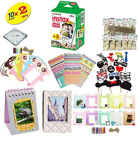 Fujifilm instax mini 8 Camera Accessory KIT includes - Fuji Instant Film 20 SHEETS + Premium Over 60 PCS bundle for fujifilm instax mini 8 Films Fujifilm Kit