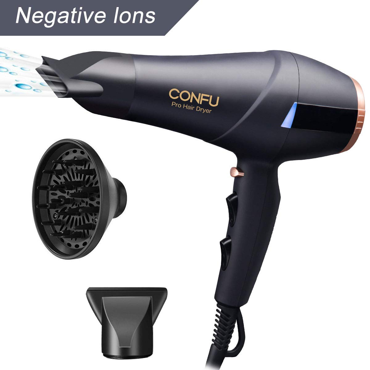 2300W Professional Hair Dryer With Diffuser Nozzles Set, Ionic Salon Powerful Hairdryer AC Motor, CONFU Fast Blow Dryer With 3 Heat 2 Speed Cool Shot Long Cable Quiet Black KF-5899