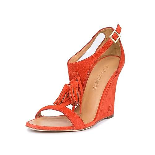 67659a680db DSQUARED2 Women Orange Suede Tassel T-Strap Slim Wedge High Heels Sandals  Shoes US 7