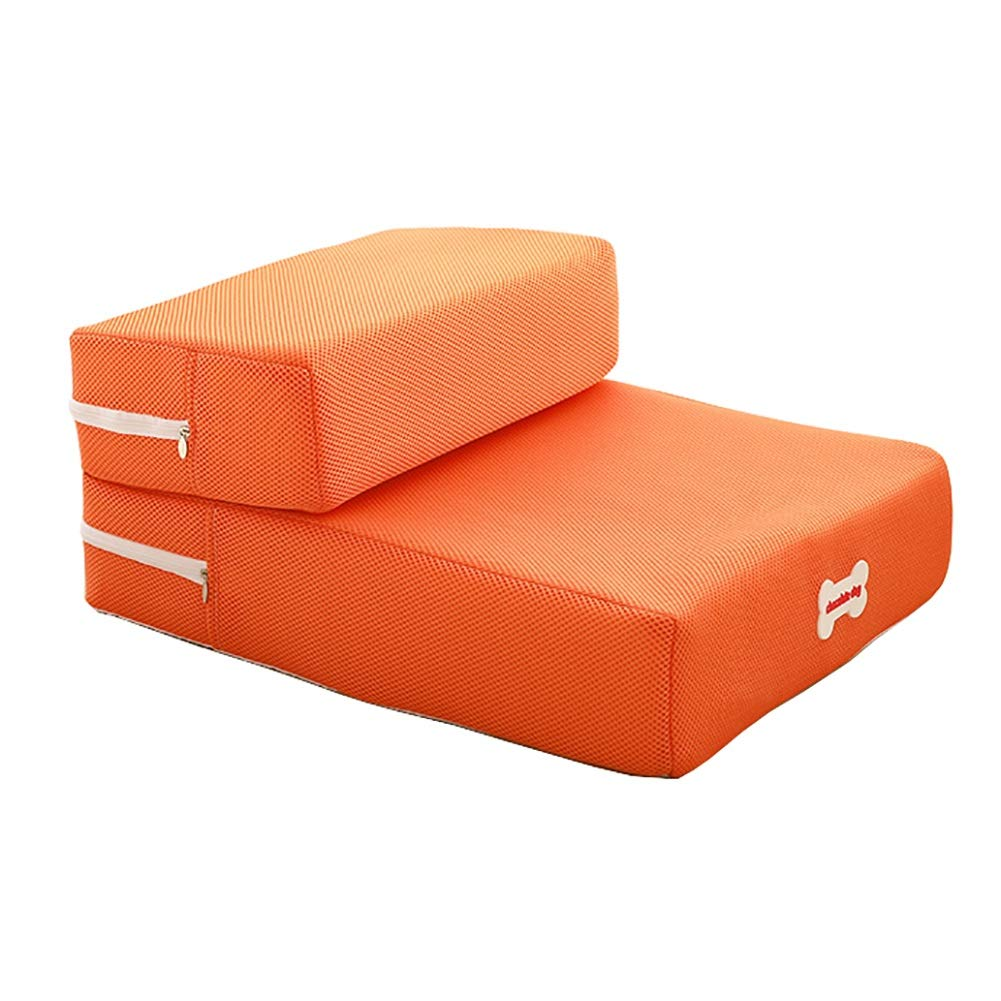 orange Pet stairs Smooth Steps Folding Foam, Small Breed Mobility Aid for Aging Dogs, color Optional (Removable) (color   Coffee)