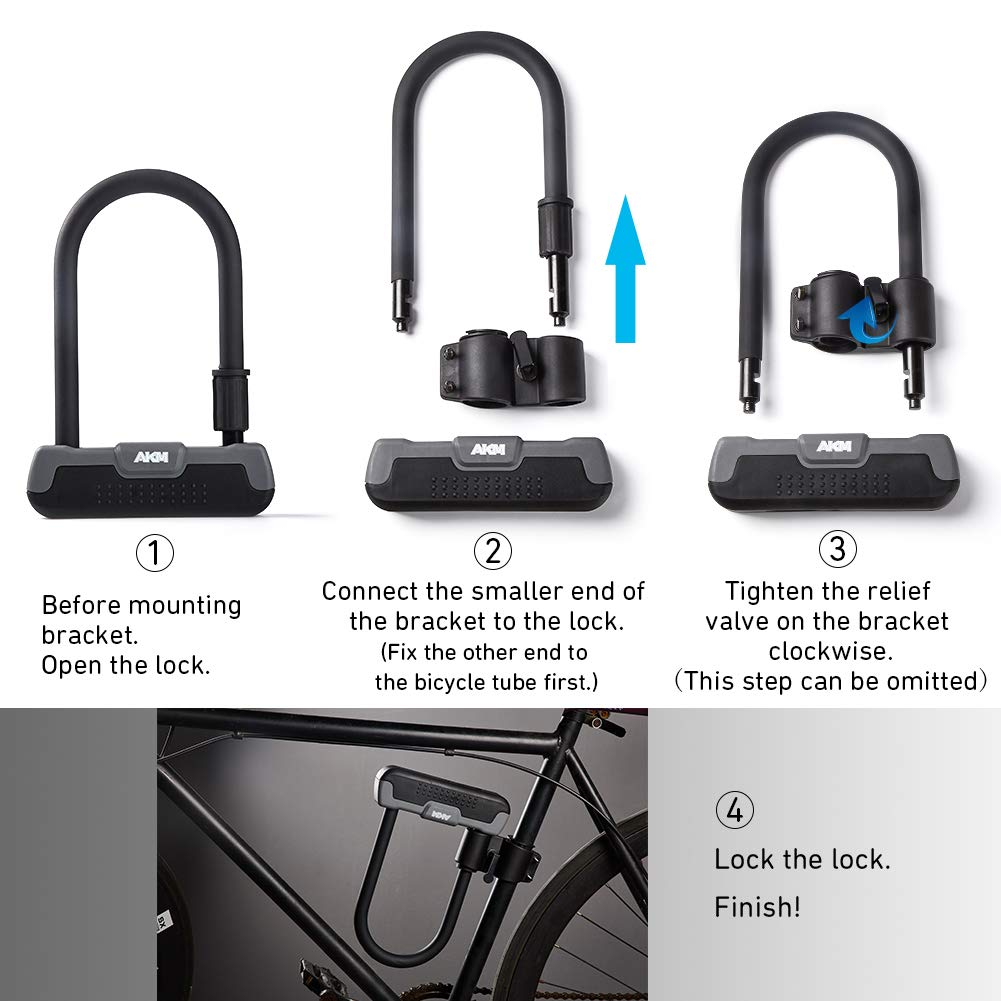 AKM Bike Lock-Heavy Duty U Lock Combination Cable Lock Bicycle Lock with 20mm U Lock Security for Bicycle Outdoors