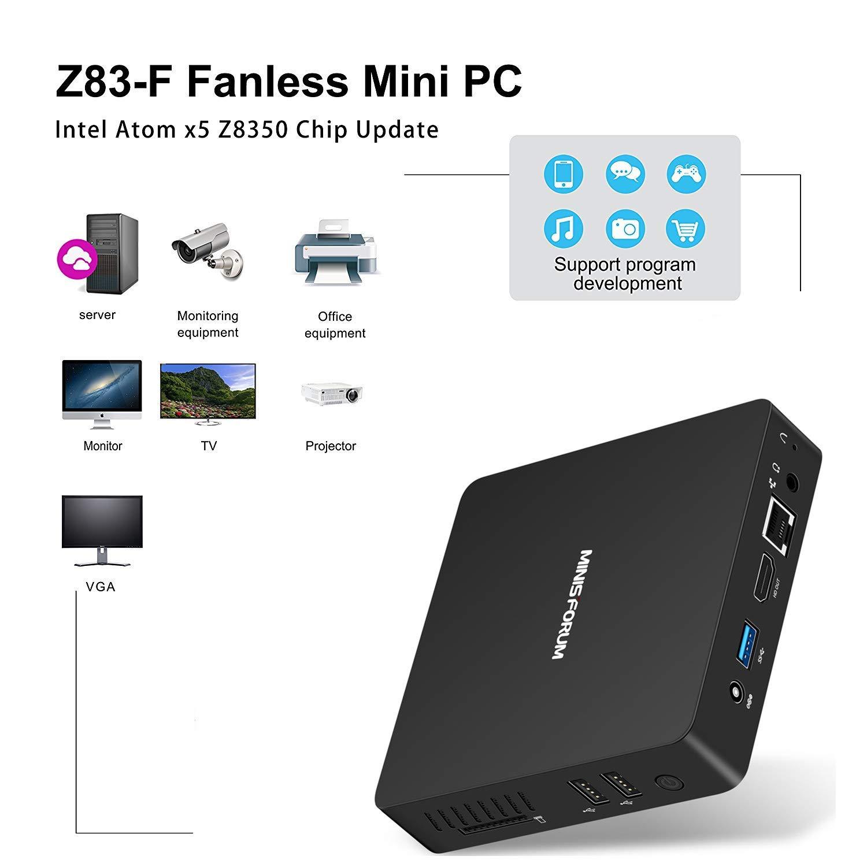 Fanless Mini PC, Procesador Intel Atom x5-Z8350 (caché de 2M, hasta 1.92GHz) 4K/4GB/32GB 1000Mbps LAN 2.4/5.8 WiFi de Banda Dual BT 4.0 con HDMI: Amazon.es: ...