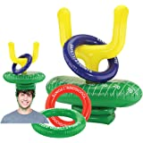 KOVOT 2-Player Inflatable Football Ring Toss Game - Game Rules Included (2 Goal Post Hats & 6 Rings)