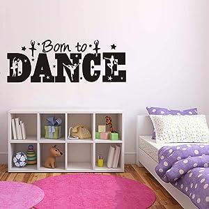 Art Vinyl Dance Wall Decal Kids Girl Room Born to Dance Quotes Wall Art Sticker Removable Dancing Decor Sticker for Girls Bedroom Dance Room AM114 (Black 42X117CM)