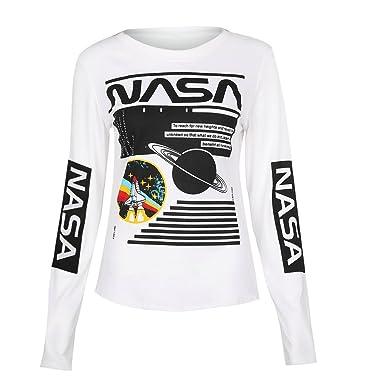 QHDZ otoño Carta de la NASA y camisas gráficas frescas de la impresión de las mujeres